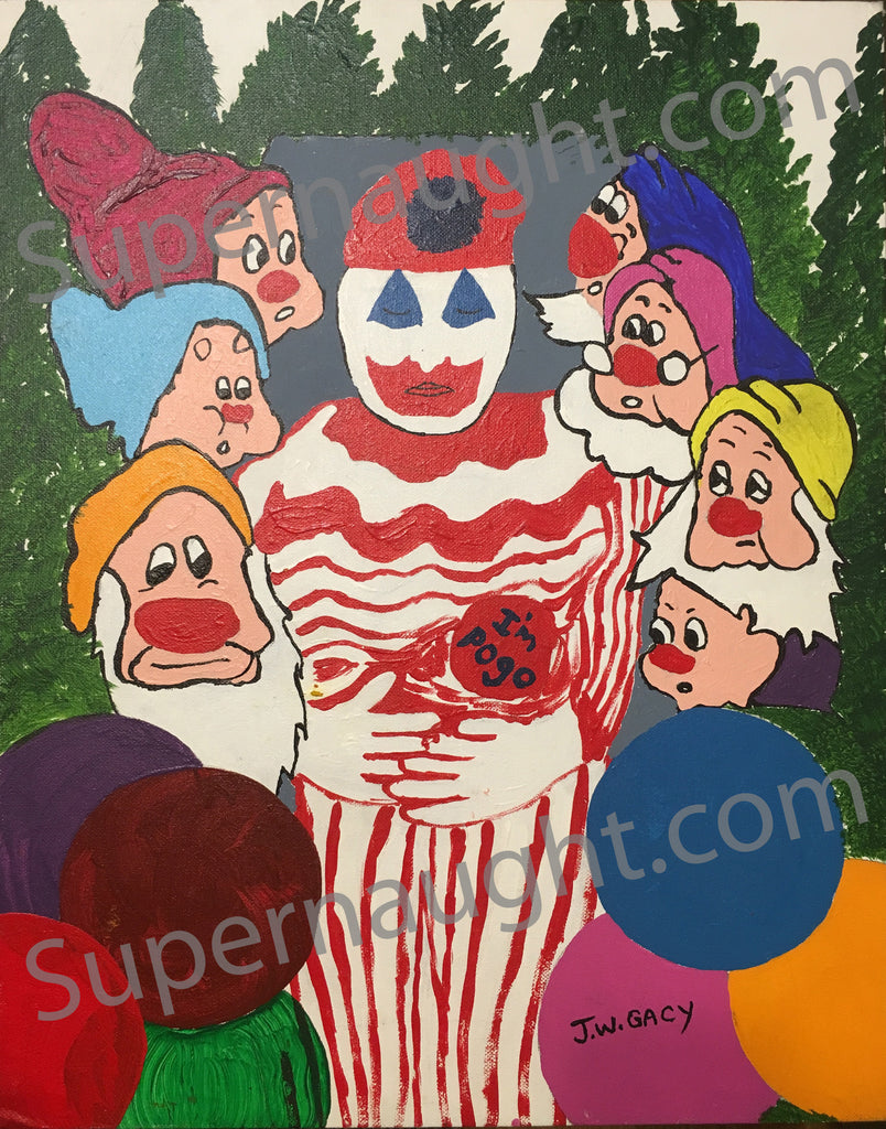 John Wayne Gacy Pogo in the Casket  Painting Signed Twice