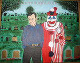 John Wayne Gacy Stuart Wall Cemetery Oil Painting Signed - Supernaught True Crime Collectibles - 1