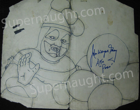 John Wayne Gacy Pogo and Patches the Clown Template Signed - Supernaught True Crime Collectibles - 1