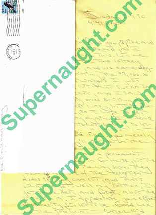 Carlton Gary three page letter with signed envelope - Supernaught True Crime Collectibles