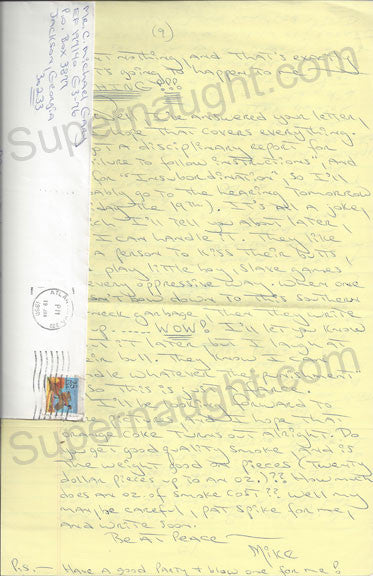 Carlton Gary 9 page letter and envelope both signed - Supernaught True Crime Collectibles