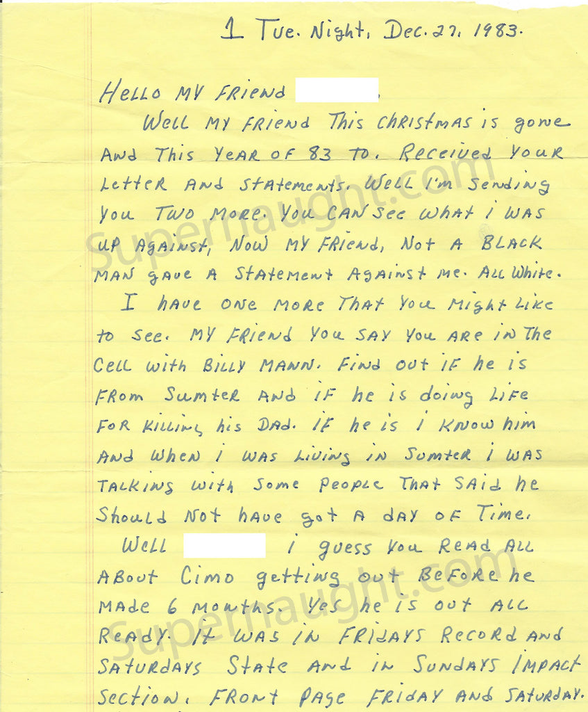 Donald Pee Wee Gaskins 1983 Letter and Envelope Set Both Signed - Supernaught True Crime Collectibles - 1