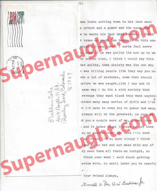 Donald Pee Wee Gaskins letter signed with envelope set - Supernaught True Crime Collectibles