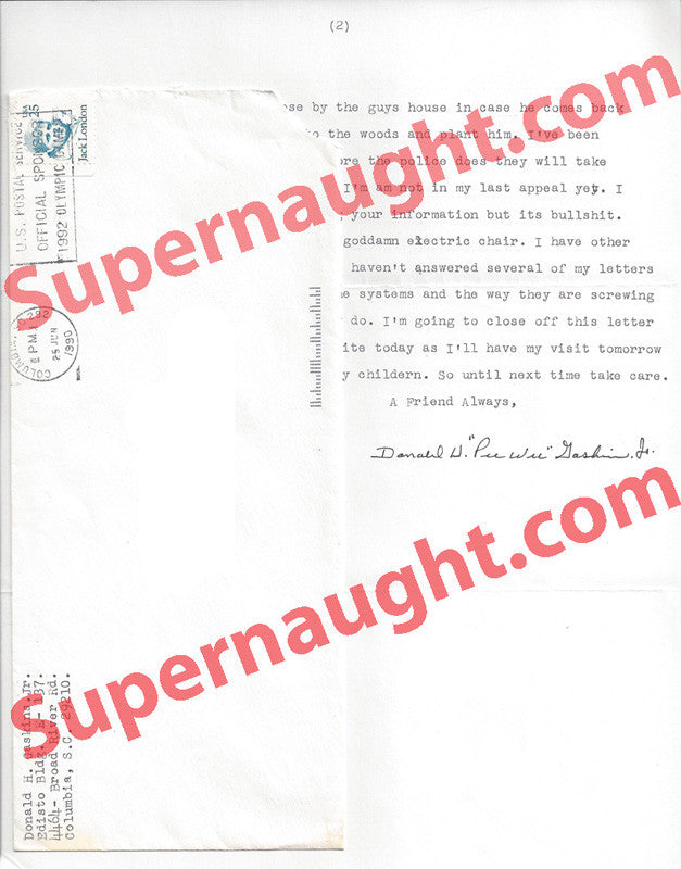 Donald Pee Wee Gaskins prison letter signed and envelope