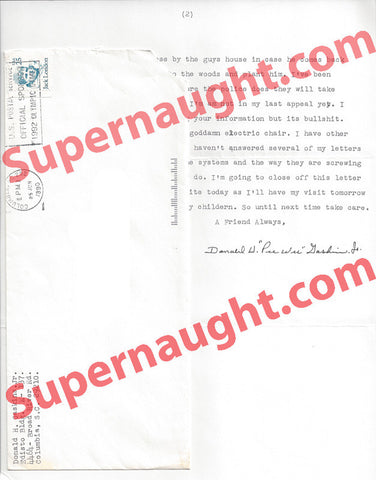 Donald Pee Wee Gaskins prison letter signed with envelope - Supernaught True Crime Collectibles