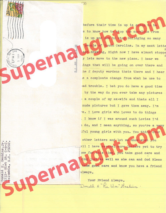 Pee Wee Gaskins 1989 letter signed with envelope - Supernaught True Crime Collectibles