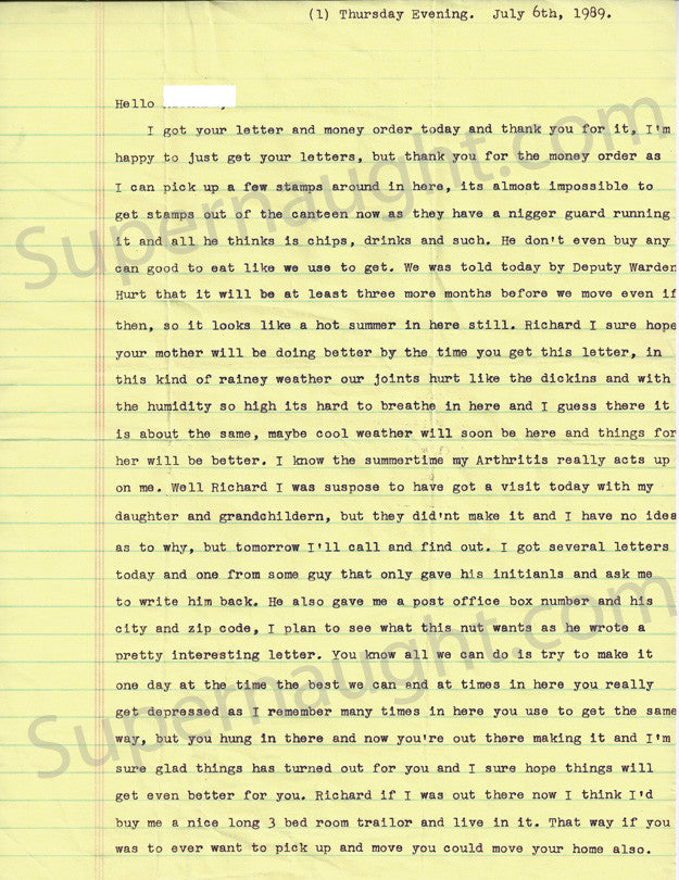 Donald Pee Wee Gaskins two page letter signed with envelope - Supernaught True Crime Collectibles - 1