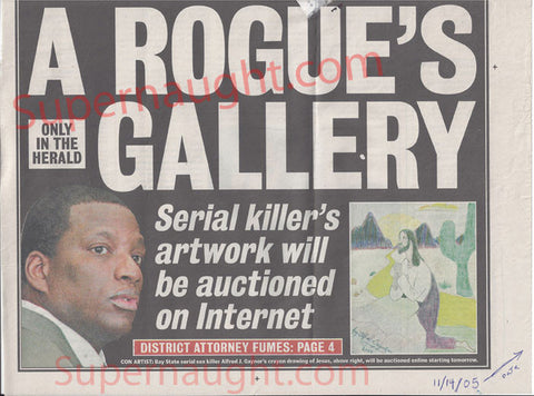 Alfred Gaynor His Article from the Nov 14 2005 Boston Herald - Supernaught True Crime Collectibles - 1