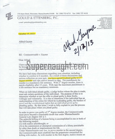 Alfred Gaynor Signed Attorney Letter