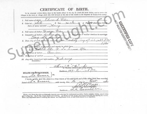 Edward Gein birth certificate copy