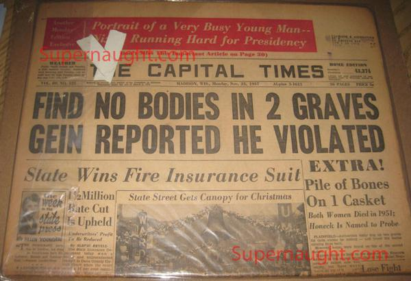 Edward Gein Vintage 1957 Newspaper