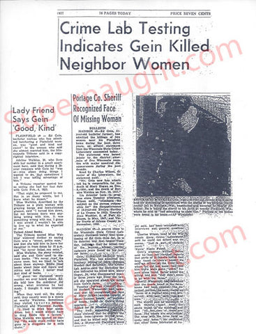 Edward Gein Psychological Report Newspaper Articles and Bernice Worden Death Certificate Copies - Supernaught True Crime Collectibles