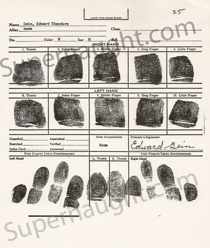 Edward Gein Fingerprint Chart Replica - Supernaught True Crime Collectibles