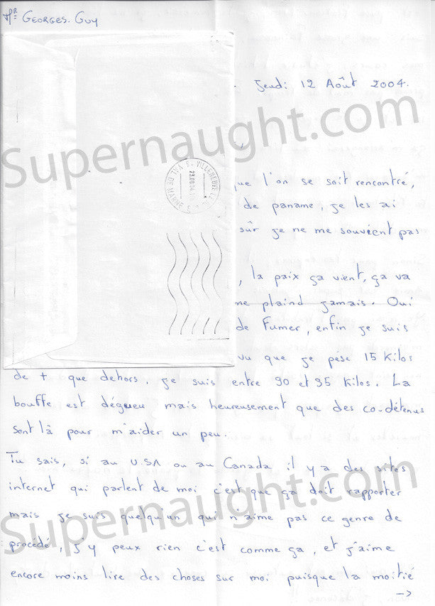 Guy Georges signed prison letter french serial killer