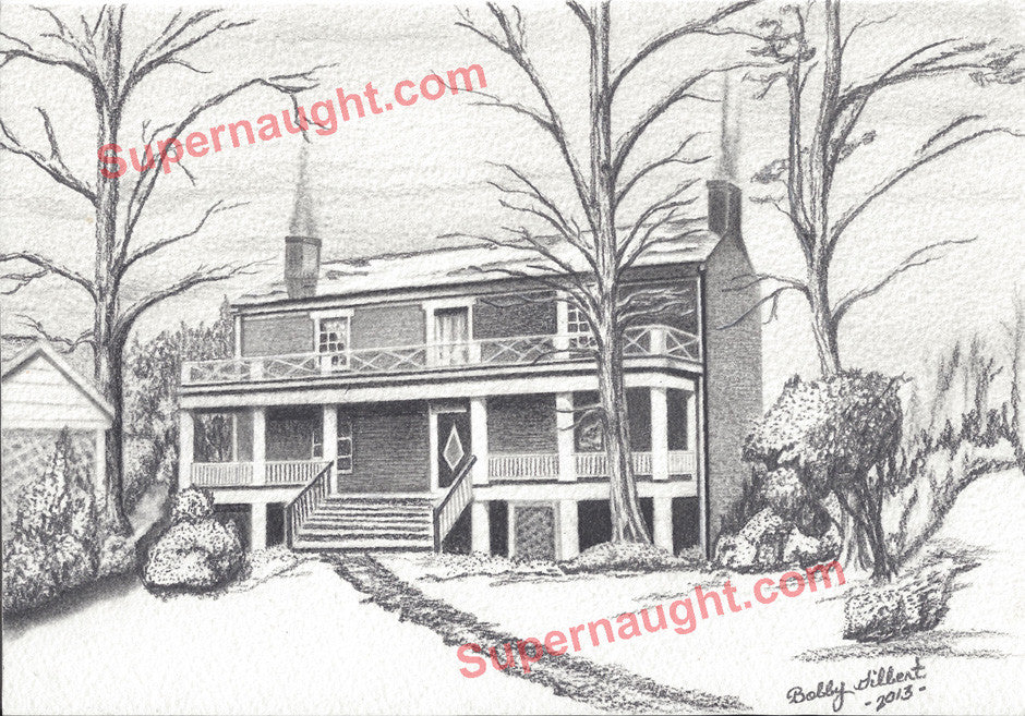 Bobby Ray Gilbert Appomattox Courthouse Drawing Signed - Supernaught True Crime Collectibles