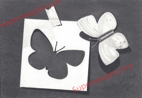 Bobby Ray Gilbert Butterfly Drawing Signed - Supernaught True Crime Collectibles