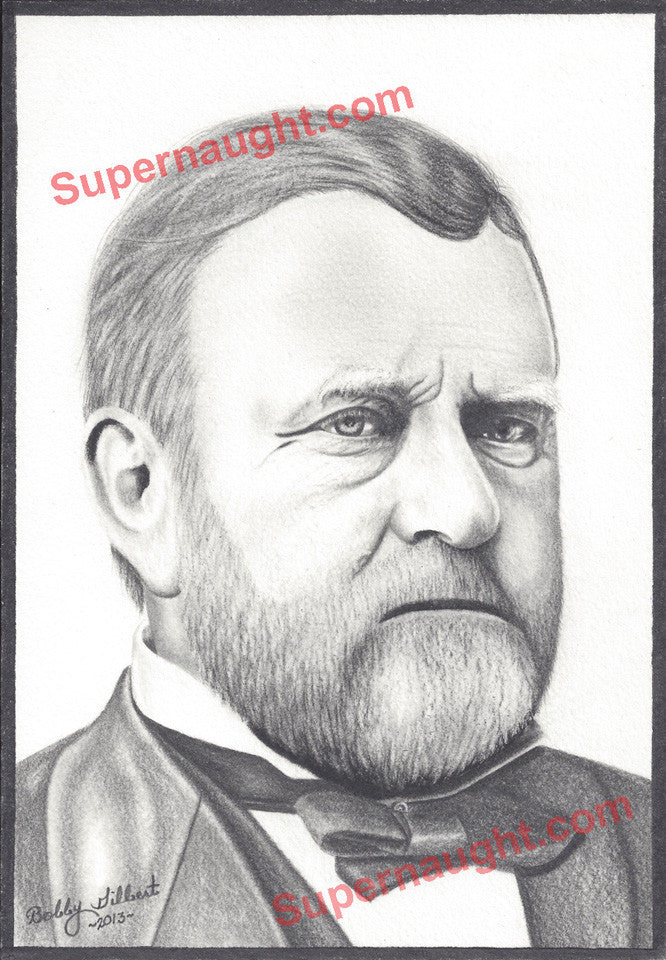Bobby Ray Gilbert Ulysses Grant Signed Portrait - Supernaught True Crime Collectibles