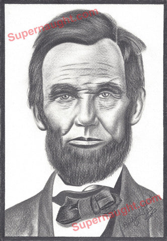 Bobby Ray Gilbert Abraham Lincoln Drawing Signed - Supernaught True Crime Collectibles
