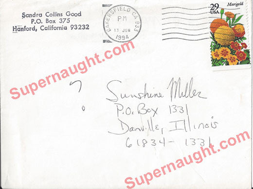 Sandy Good Manson Family note written on envelope - Supernaught True Crime Collectibles - 1