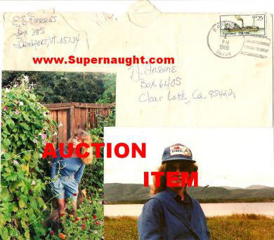 Sandra Good 1989 envelope signed with two photos - Supernaught True Crime Collectibles