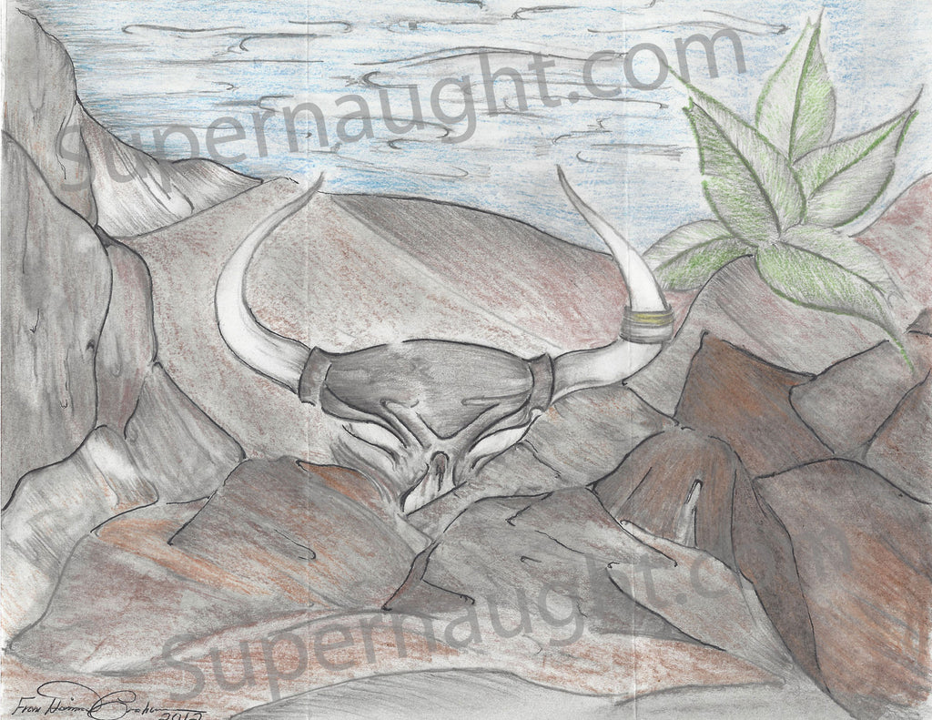 Harrison Graham Longhorn Skull in the Rocks Signed Artwork - Supernaught True Crime Collectibles