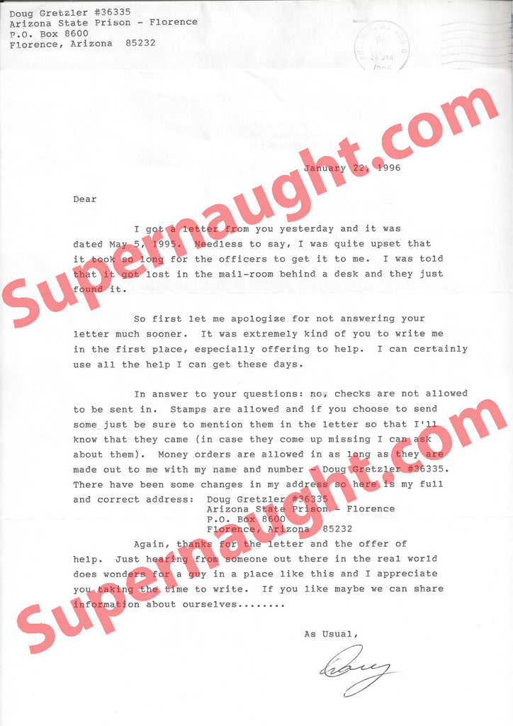 Doug Gretzler prison letter signed with envelope - Supernaught True Crime Collectibles