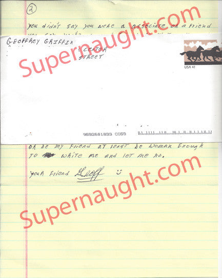 Geoffrey Griffin three page letter and envelope set both signed - Supernaught True Crime Collectibles