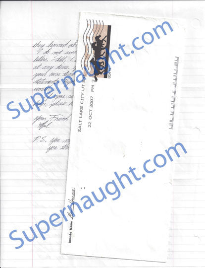 Mark Hacking letter and envelope both signed - Supernaught True Crime Collectibles