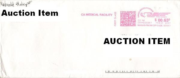 Reginald Haley prison envelope signed