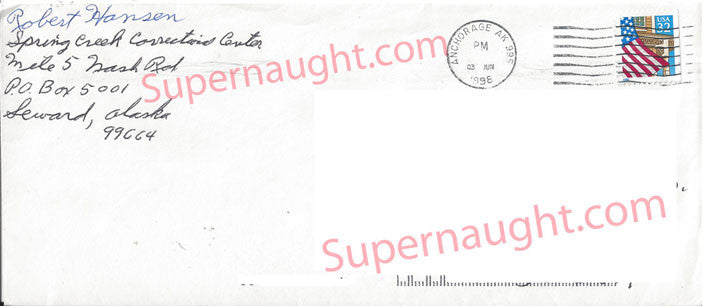 Robert Hansen prison stamped envelope signed - Supernaught True Crime Collectibles