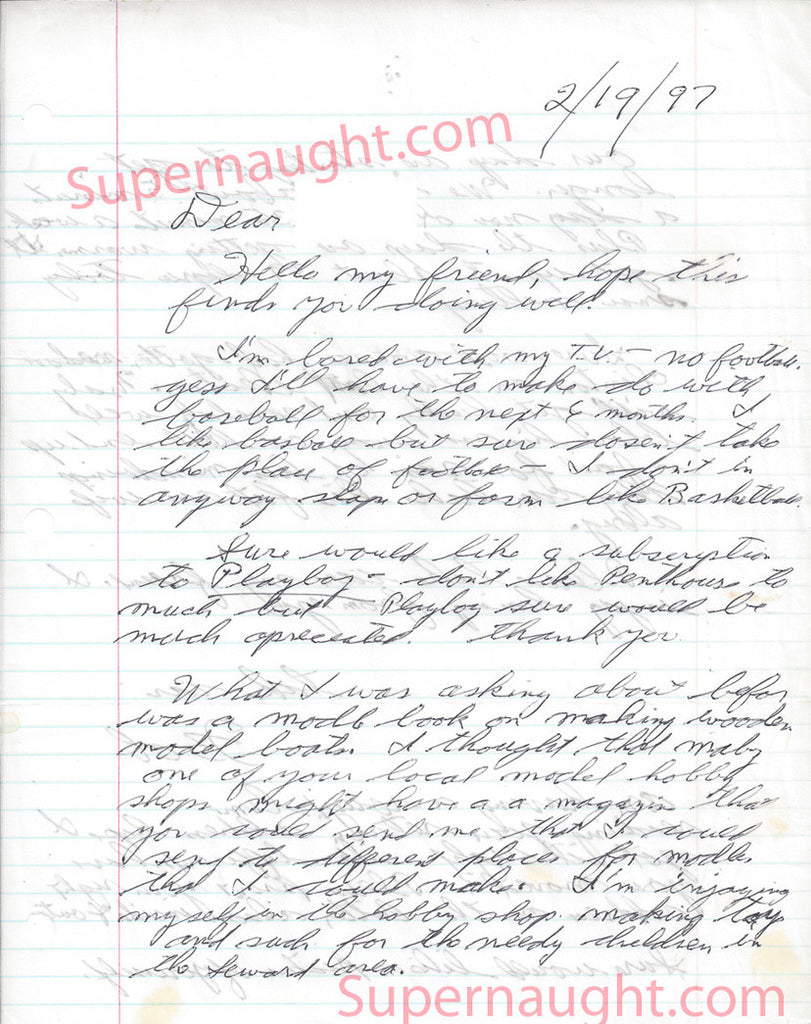 Robert Hansen Feb 1997 prison letter signed Bob - Supernaught True Crime Collectibles