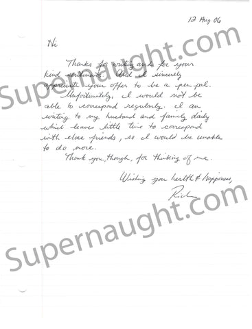 Richard Hatch letter and envelope set both signed - Supernaught True Crime Collectibles - 1