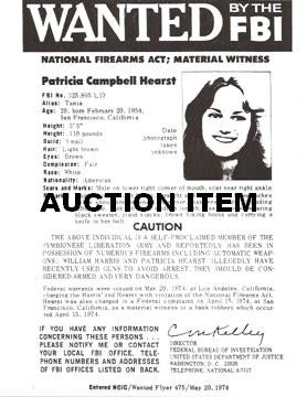 Patty Hearst replica 1974 Wanted Poster - Supernaught True Crime Collectibles