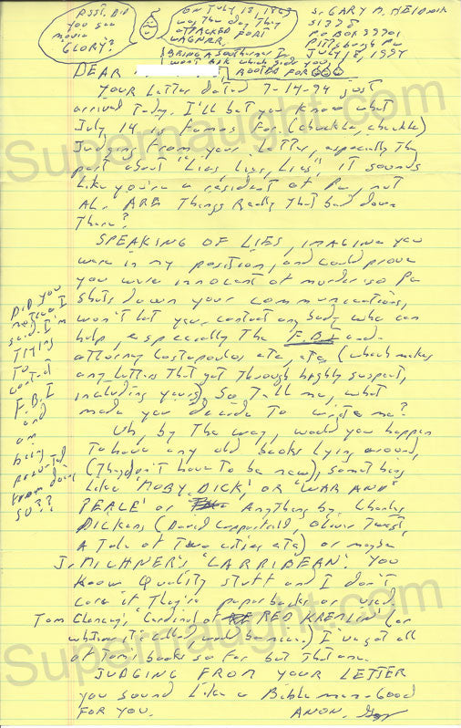 Gary Heidnik Letter with Doodle Signed Twice - Supernaught True Crime Collectibles - 1
