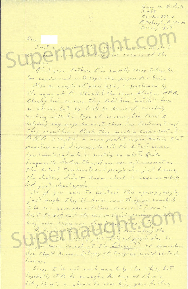 Gary Heidnik letter and prison envelope both set signed - Supernaught True Crime Collectibles - 1