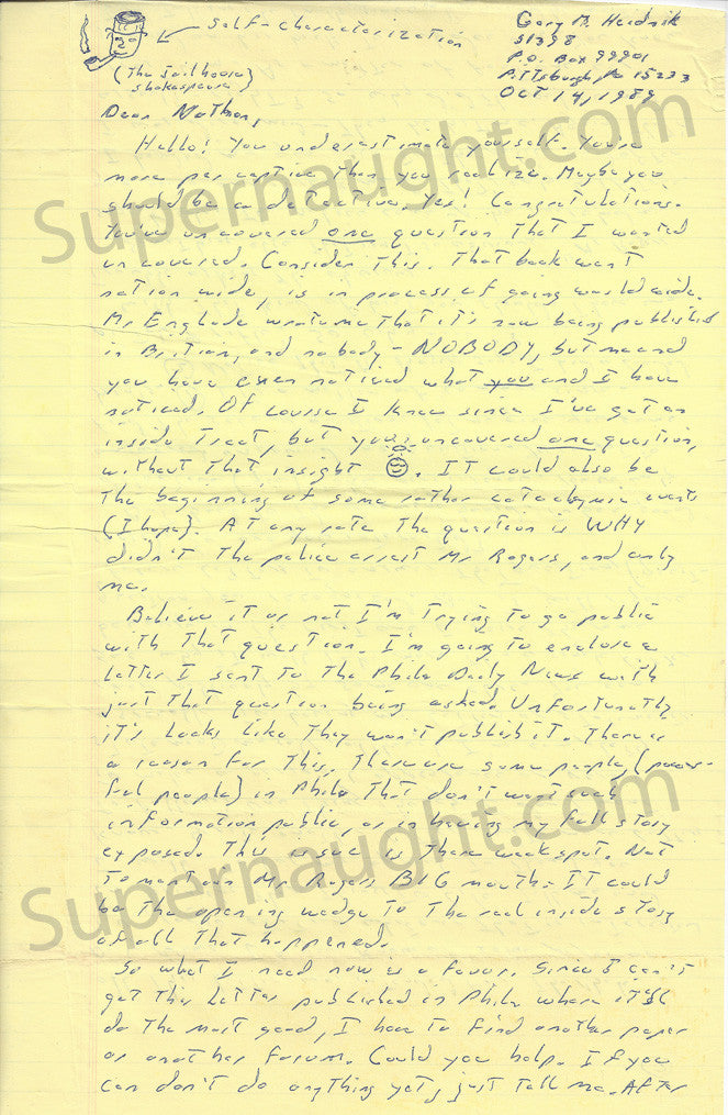 Gary Heidnik four page letter with self portrait signed - Supernaught True Crime Collectibles - 1