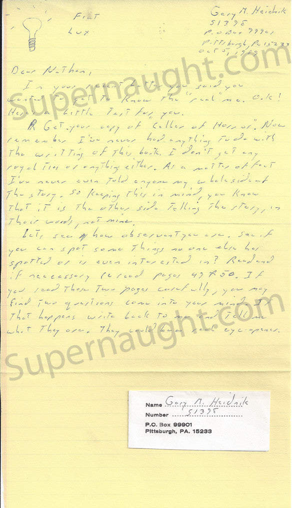 Gary Heidnik letter and return address portion of envelope both signed - Supernaught True Crime Collectibles