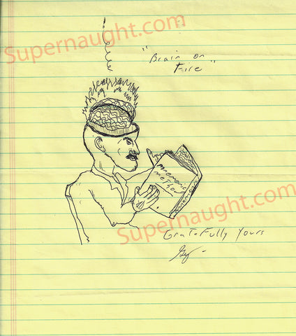 Gary Heidnik self portrait Brain on Fire drawing signed - Supernaught True Crime Collectibles