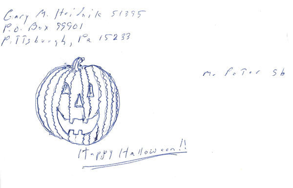 Gary Heidnik Halloween envelope drawing signed - Supernaught True Crime Collectibles