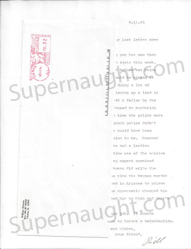 William Heirens letter signed Bill with envelope - Supernaught True Crime Collectibles