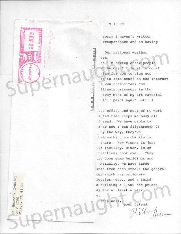 William Heirens letter signed with envelope - Supernaught True Crime Collectibles