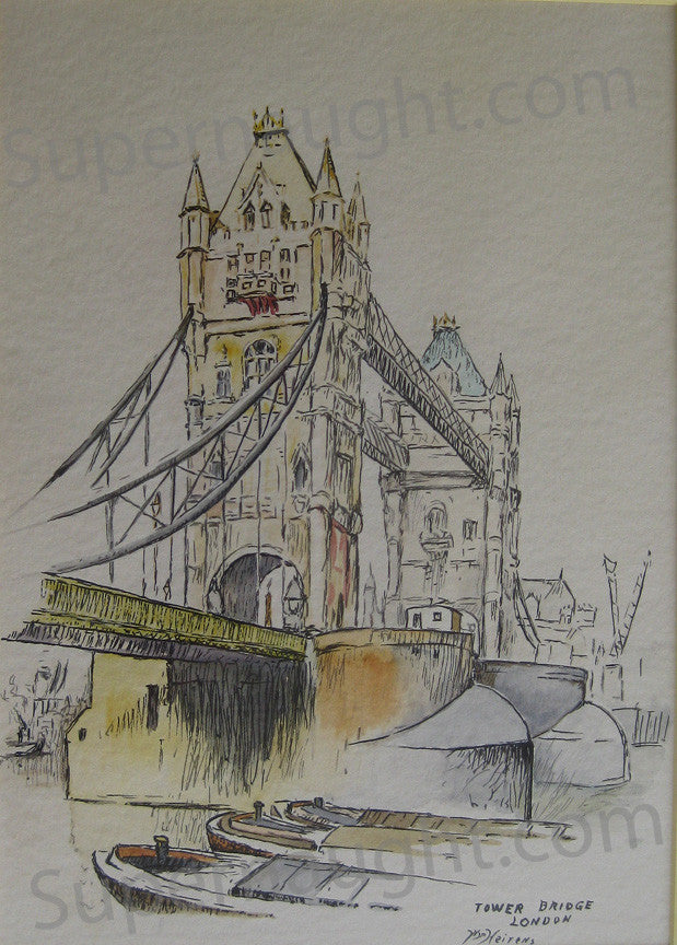 William Heirens Tower Bridge London painting signed - Supernaught True Crime Collectibles - 1