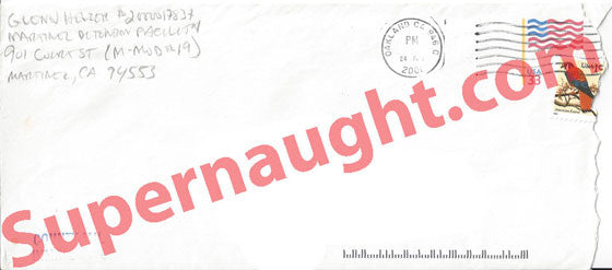 Glenn Helzer county jail envelope signed - Supernaught True Crime Collectibles