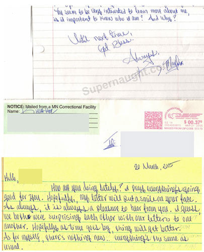 Khoua Her three page letter and envelope both signed - Supernaught True Crime Collectibles