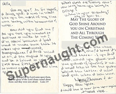 Khoua Her Christmas card hand signed - Supernaught True Crime Collectibles