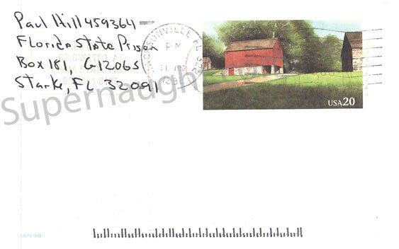 Paul Hill Prison stamped postcard signed twice - Supernaught True Crime Collectibles
