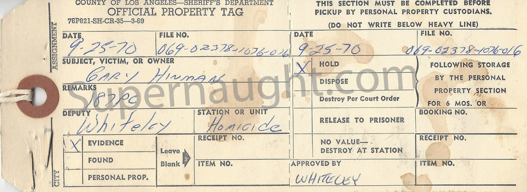 Gary Hinman evidence property tag dated Sept 1970 - Supernaught True Crime Collectibles