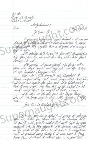 Brandy Holmes signed letter louisiana female on death row