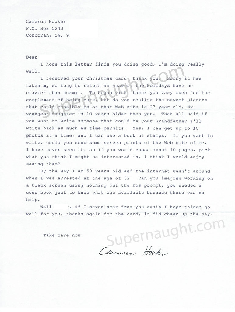 cameron hooker signed letter janice colleen stan