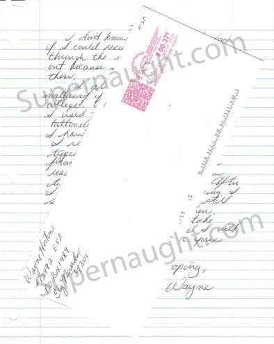 Wayne Horton letter and envelope set both signed - Supernaught True Crime Collectibles